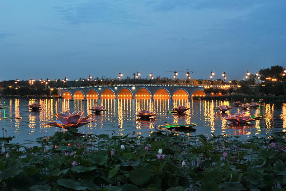 西安曲江池遗址公园夜景