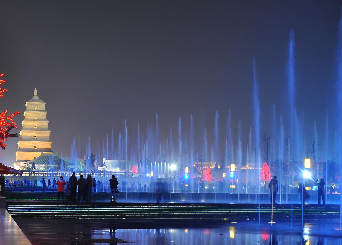 家乡美西安大雁塔大雁塔广场的音乐喷泉很壮观这个号称亚洲最图片