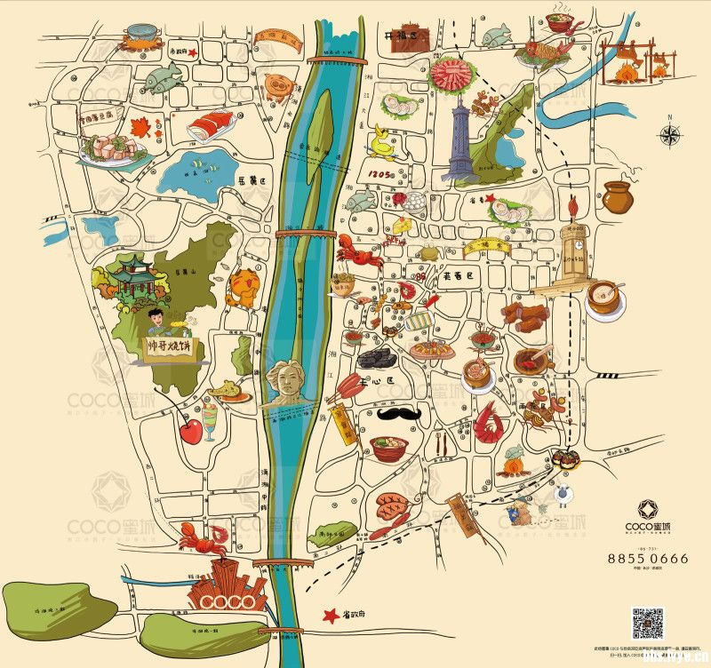 小学生手绘美食地图图片
