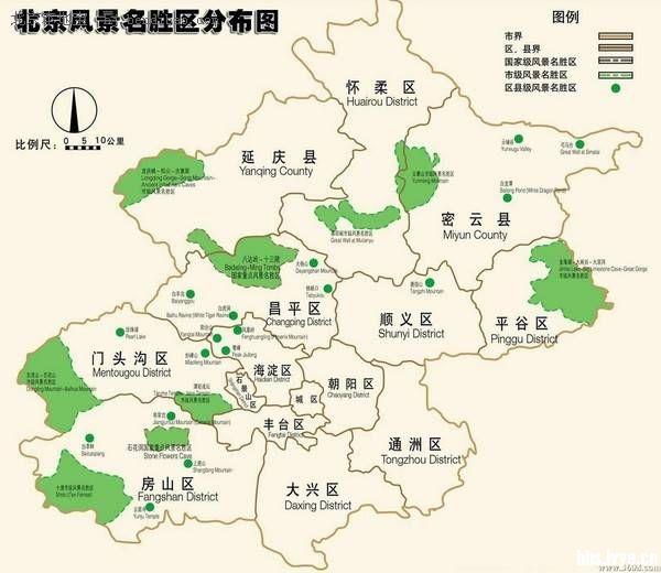 北京郊区旅游地图