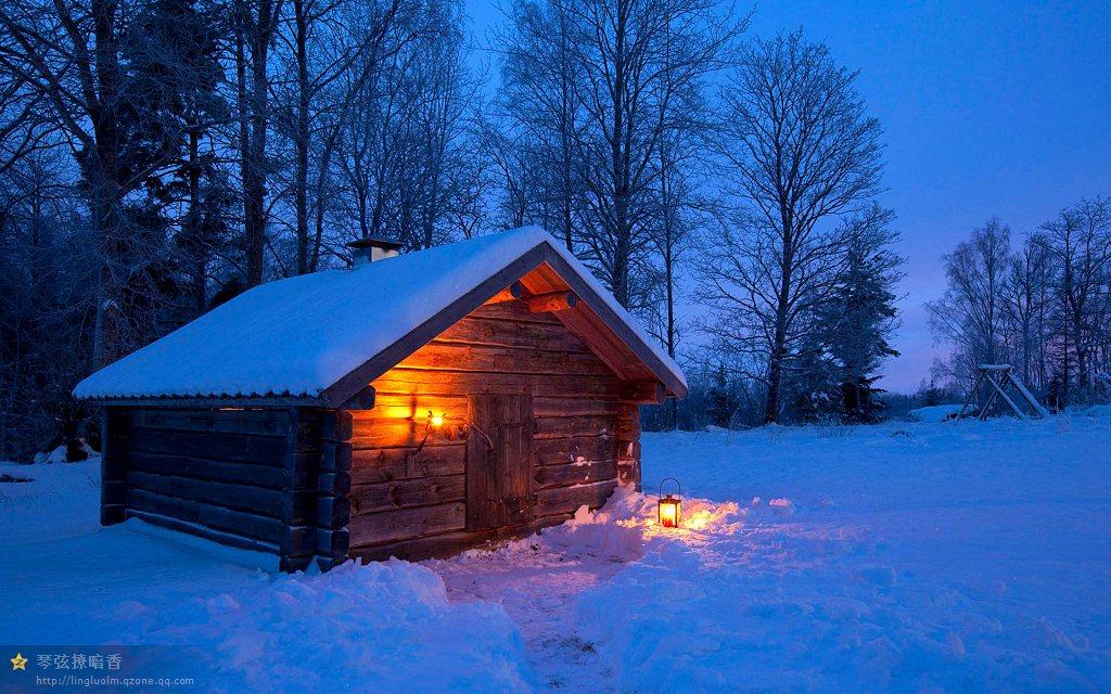 软萌小可爱雪夜壁纸