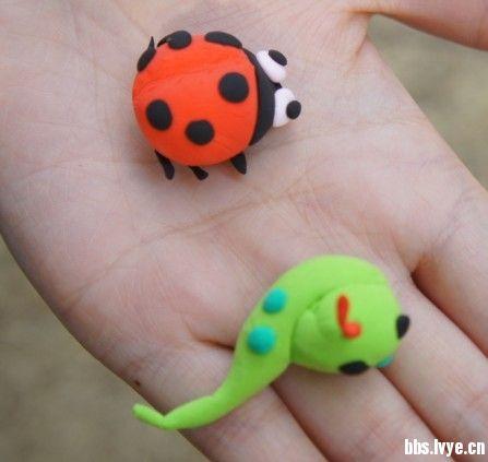 橡皮泥手工制作图片瓢虫
