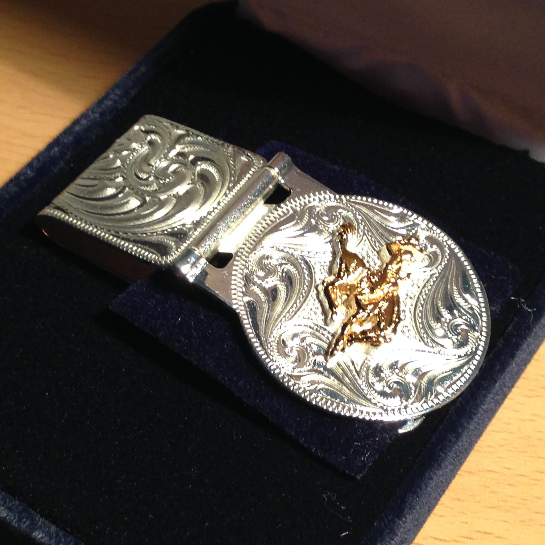 美国原产silversmiths牛仔骑野马图案钞票夹,钱包高清图片