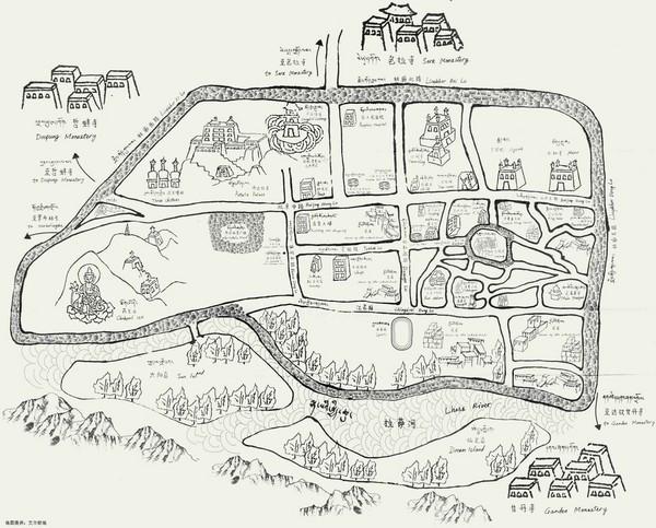 拉萨手绘景点分布图