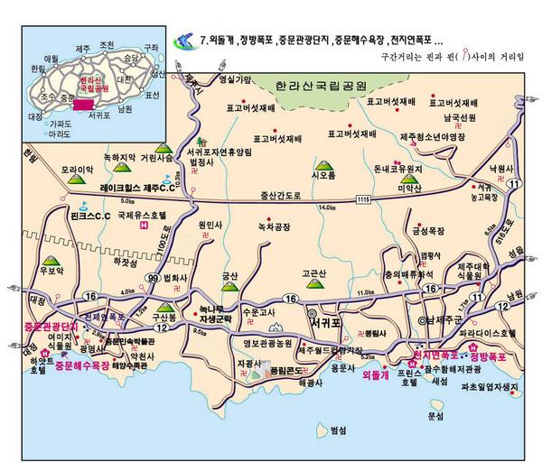 济州岛中文观光区地图