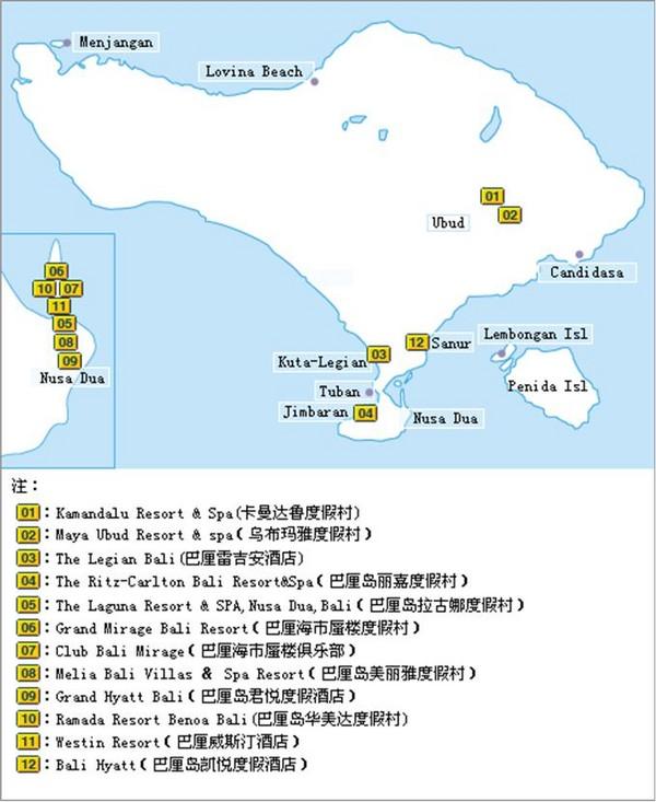 巴厘岛酒店分布图