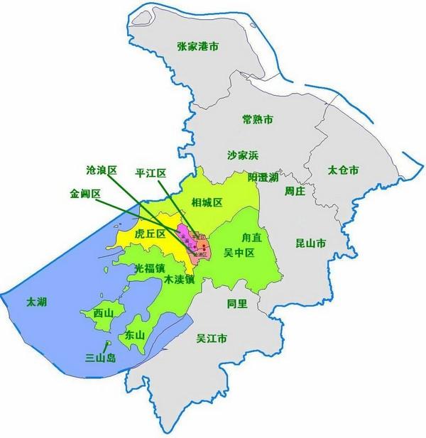 苏州行政区划图
